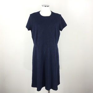 J McLaughlin XL Navy Blue brocade Ponte dress